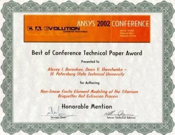 ANSYS Conference and Exhibition 2002 Best of Conference Technical Paper