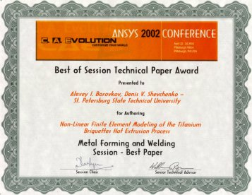 ANSYS Conference and Exhibition' 2002 Best of Session Technical Paper