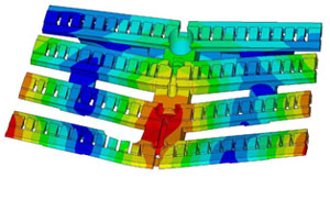 CAD/FEA/CAE, CompMechLab: Distribution of the dispacement vector modulus in the W-LBSPR  block (fragment)