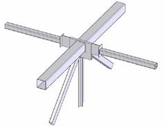 CAD модель характерного узла сопряжения стержней рамных металлических конструкций с различными профилями