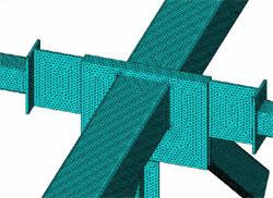 КЭ модель характерного узла сопряжения стержней рамных металлических конструкций с различными профилями