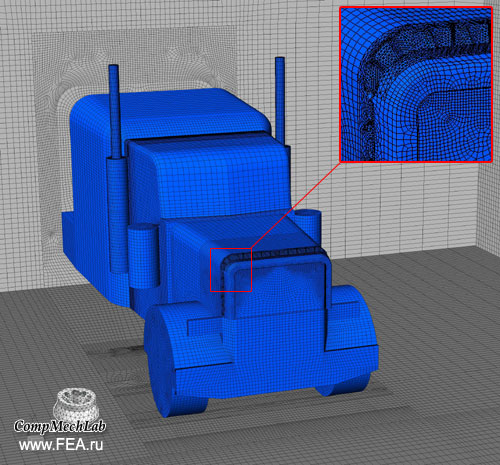 Finite Element model of the trailer cabin. About 5 000 000 DOF