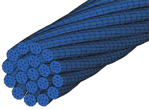 Конечно-элементная модель внутренней пряди стального каната. LS-DYNA