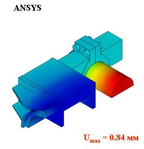 Норма вектора перемещений, м. ANSYS