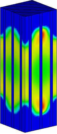 Распределение интенсивности пластических деформаций для СМ типа III. ANSYS.