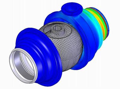 CAD/FEM/CAE модель запорного шарового крана Ду-300