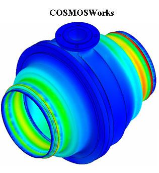 Эффективные напряжения по Мизесу, МПа. CosmosWorks