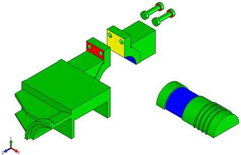 Пространственная CAD-модель каретки (SolidWorks)