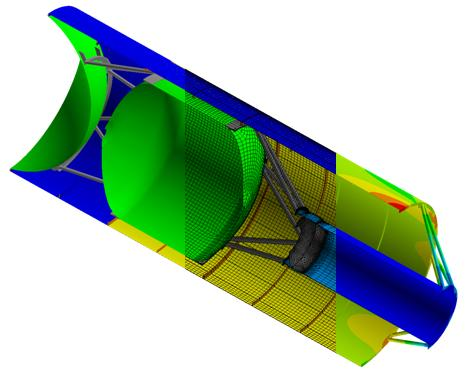 3-D Solid and FEA model of the space shuttle casing. ANSYS