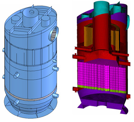 SSH-500-1 separator-superheater's(with modernized separating part) 3D geometrical and finite element models