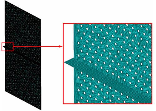 Пространственная конечно-элементная модель вертикальных дырчатых листов на входе и выходе сепарационных блоков