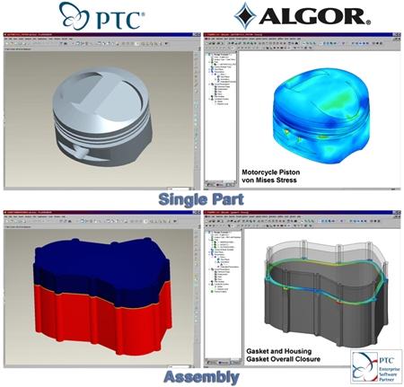Примеры использования инструментов КЭ анализа от ALGOR в CAD системе Pro/E