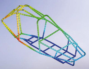 CosmosWorks Designer can now analyse structural members in the chassis using more efficient beam elements.