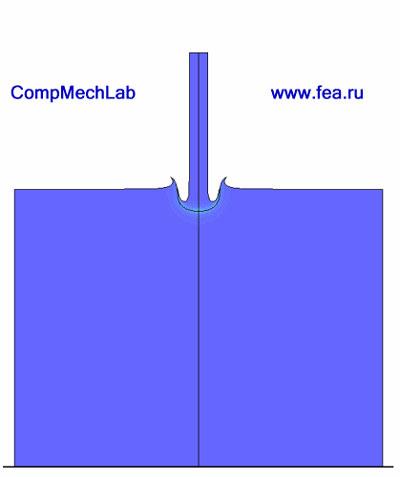 Конечно-элементное исследование процесса проникания деформируемого цилиндрического ударника в деформируемую плиту конечных размеров. Нажмите для просмотра