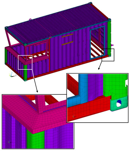 Second floor finite element shell model