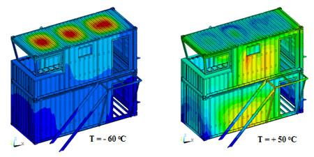 Распределение модуля вектора перемещений при температурах  -60, +50 оС