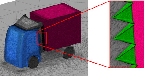 Figure 3. Fragments of CFD-model over the external surfaces of vehicle