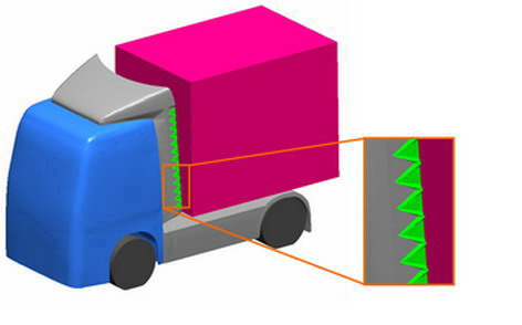 Figure 1. 3D geometrical model of the drive truck and trailer with mounted vortex generators
