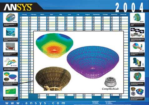 2004_ANSYS Contest_CompMechLab_Конечно-элементное исследование теплового, гравитацтионного и термодеформационного состояния радиотелескопа РТ-70 диаметром 70 метров