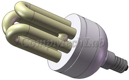 Energy saving light bulb CAD model. SolidWorks 2007