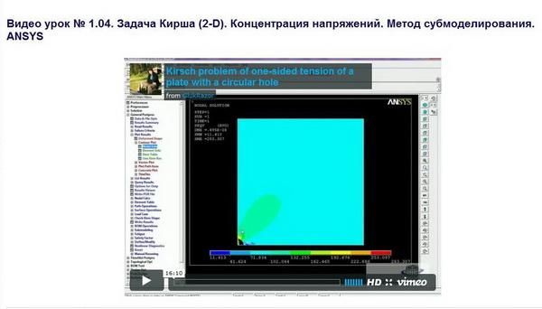 CompMechLab_Видео урок № 1.04_Задача Кирша (2-D)_ANSYS