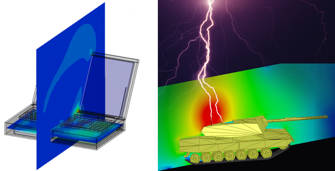 ANSYS 13.0. Applications using HFSS transient capability: EMI study (left) and lightning strike (right).