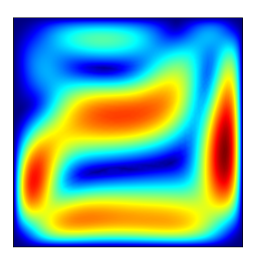 На иллюстрации приведено решение задачи о свободной конвекции в пористой среде, моедль для которой объединяет в себе заданные через уравнения баланс импульса и баланс энергии.