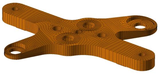 CompMechLab. 3-D КЭ-модель крепежной плиты блока W-LBSRP дивертора термоядерного реактора JET