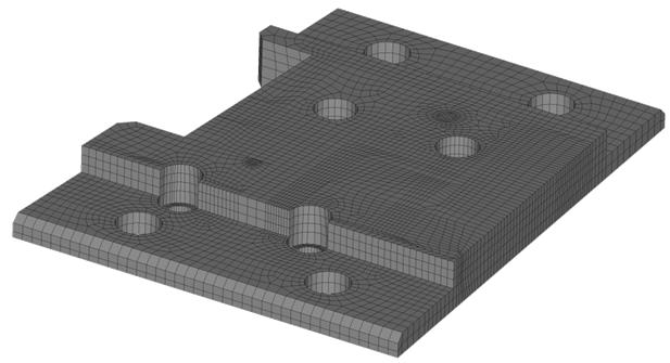 CompMechLab. 3-D КЭ-модель основания блока W-LBSRP дивертора термоядерного реактора JET