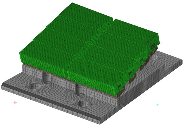 CompMechLab. 3-D КЭ модель блока W-LBSRP дивертора термоядерного реактора JET