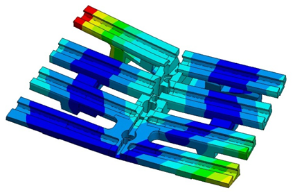 Модуль вектора перемещения для двух вариантов нагружения