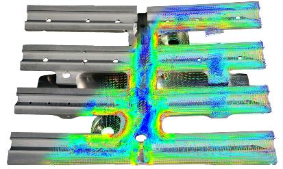 Распределение плотности вихревых токов в держателе облицовки и крепежной плите