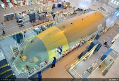 Airbus начинает работу над передней частью для первого A350 XWB