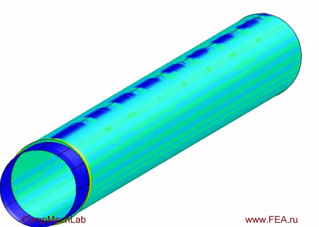 Результаты конечно-элементного моделирования: операция экспандирования трубы после сварки, поля деформаций в процессе выполнения экспандирования