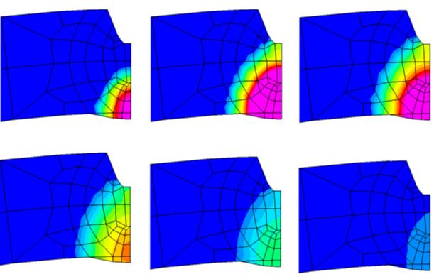 Результаты конечно-элементного моделирования: изменение во времени контура ванны расплава и зоны термического влияния в процессе выполнения внутреннего шва, приведены температурные поля