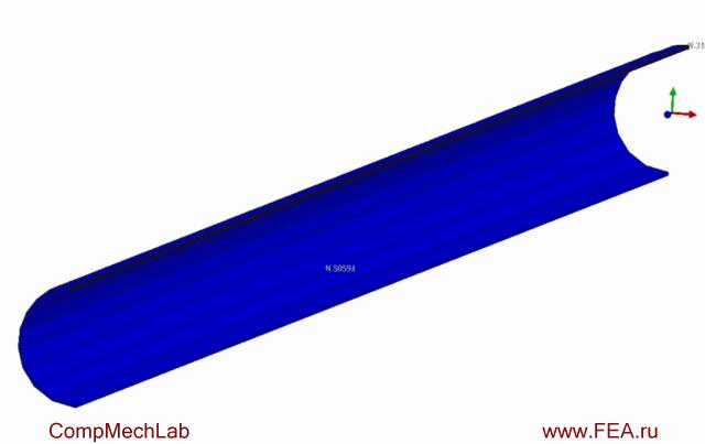 Результаты конечно-элементного моделирования: технологическая операция подгибки краев и полный технологический процесс сварки трубы в соответствии с последовательностью нанесения швов, поля перемещений (анимация)