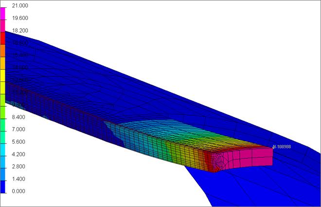 Результаты конечно-элементного моделирования: поле перемещений в трубе после операций сварки