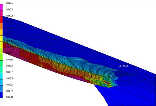 Результаты конечно-элементного моделирования: эффективные пластические деформации в зоне сварного шва после операций сварки