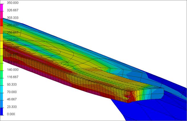 Результаты конечно-элементного моделирования: распределение эквивалентных напряжений в зоне шва после выполнения сварки