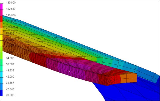 Результаты конечно-элементного моделирования: распределение температур после операций сварки