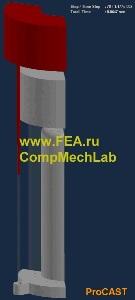 Моделирование процесса заливки корпуса сифонным способом: процесс заполнения литейной формы и скорость потока металла в выбранном сечении