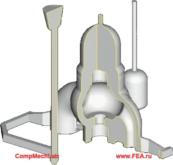 Фрагмент паровой турбины с установленной паровой коробкой; литейная модель паровой коробки с элементами литниково-питающей системы (ЛПС)