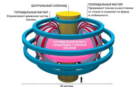 Реактор будущего. Самые большие в мире магниты будут удерживать тороидальную камеру со сверхраскаленной плазмой. Внутри нее ядра водорода будут сливаться и образовывать гелий. Возможно, в итоге мы увидим первое в мире искусственное «горение плазмы»