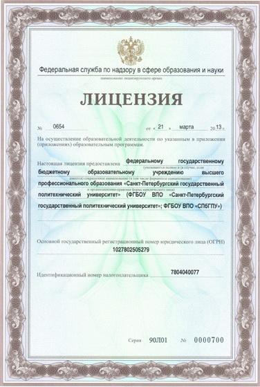 Лицензия Министерства образования РФ ГОУ СПбГПУ