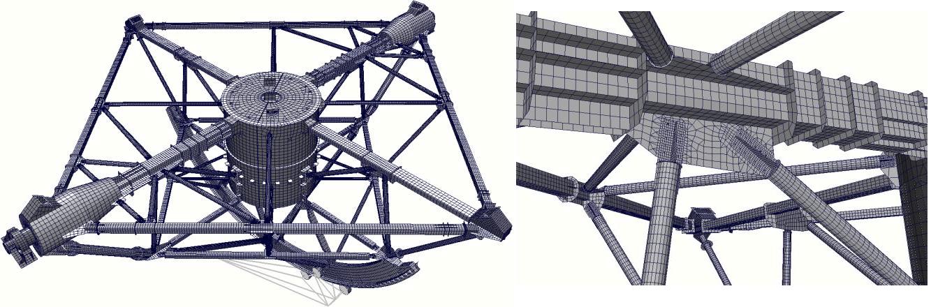3-D КЭ модель ПОК-пирамиды РТФ-32 и области одного из стыковочных узлов
