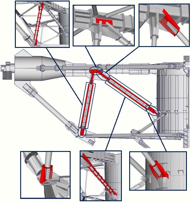 Геометрические модели усиленных элементов ПОК-пирамиды РТФ-32