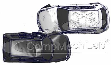 Фронтальное столкновение с малым перекрытием, начальные скорости обоих ТС – 64 кмч, t = 150мс – начало разлета автомобилей после удара