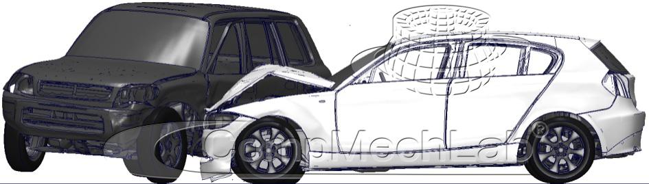 Боковой удар в переднее колесо; скорость движущегося автомобиля 64 км/ч, второй автомобиль неподвижен, t = 150 мс – начало разлета автомобилей после удара