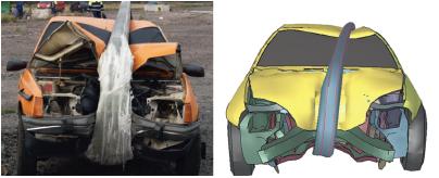 деформированное состояние автомобиля после столкновения с композитной мачтой дорожного освещения
