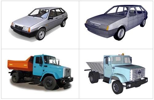Модели для лобового столкновения автомобилей ВАЗ-21093 и ЗИЛ-433362